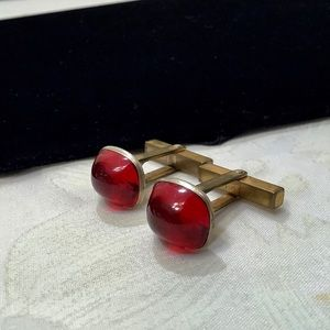Vintage Gold With Red Lucite Cufflinks